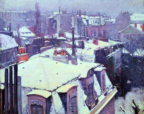 Caillebotte's Rooftops Under Snow