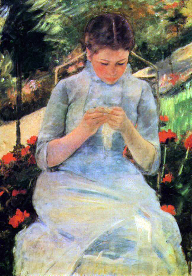 Mary Cassatt's Girl Sewing In A Garden
