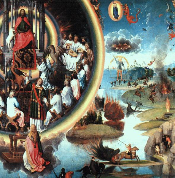 Memling's Triptych of The Mythical Marriage of St. Catherine (upper half, right wing)