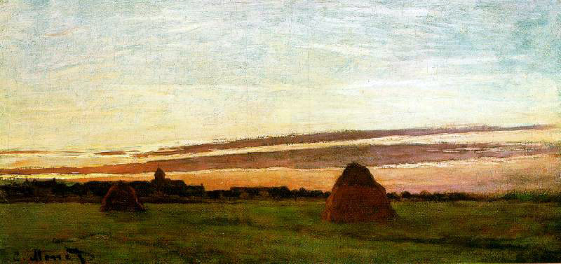 Monet's Haystacks at Chailly, At Sunrise