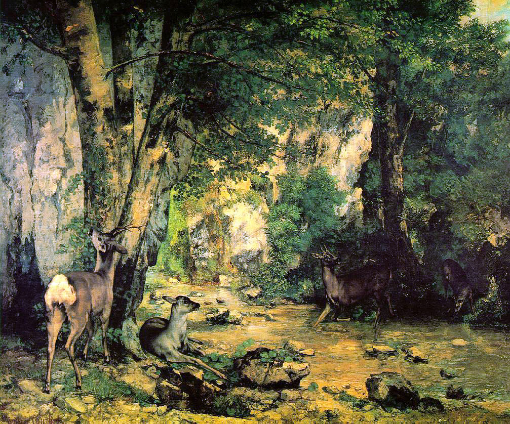 Courbet's Thicket of Deer At The Stream of Plaisir-Fontaine