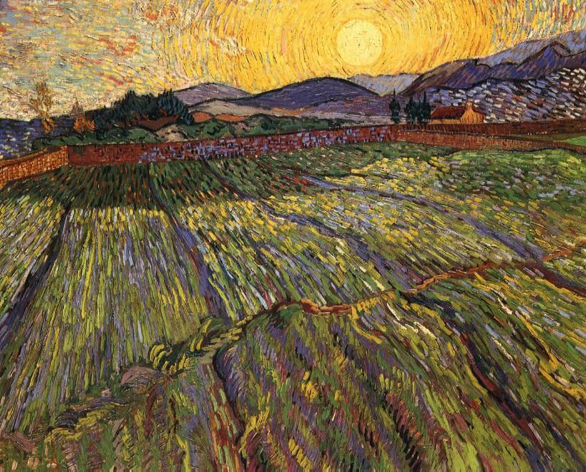 van Gogh's Wheat Field With Sun and Cloud