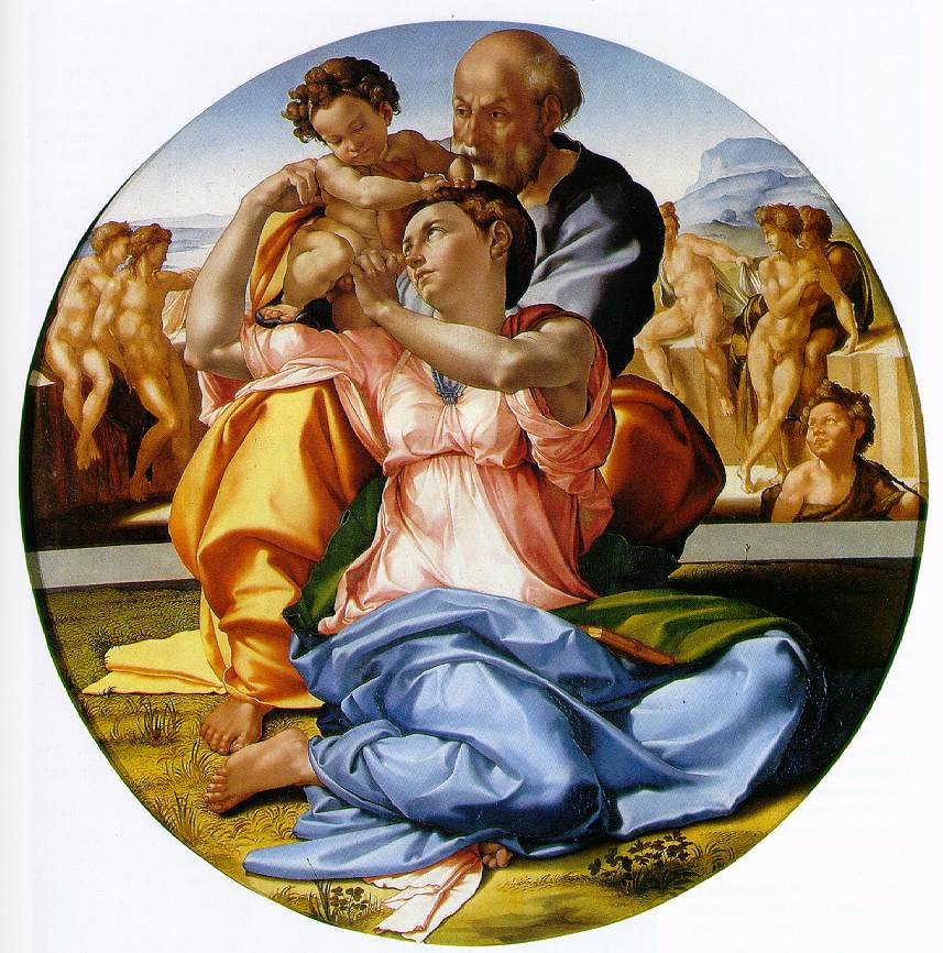 Michelangelo's Holy Family With The Infant John The Baptist