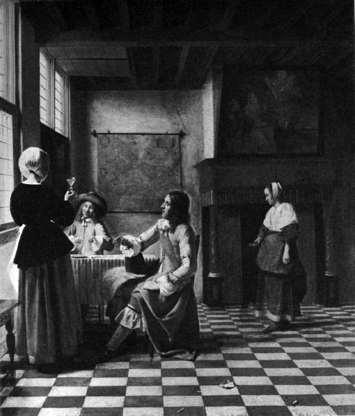 Pieter de Hooch's Interior, A Woman Drinking With Two Men