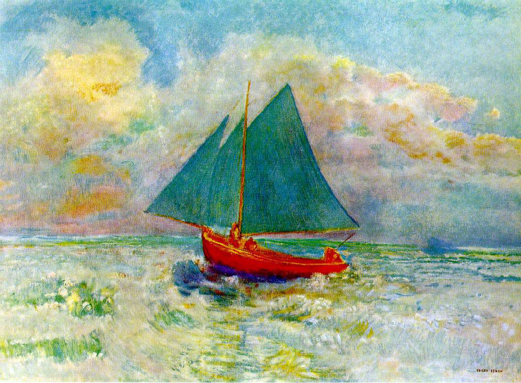 Odilon Redon's Red Boat With Boat Sail